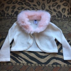 Janie and Jack faux fur collar cardigan 6-12